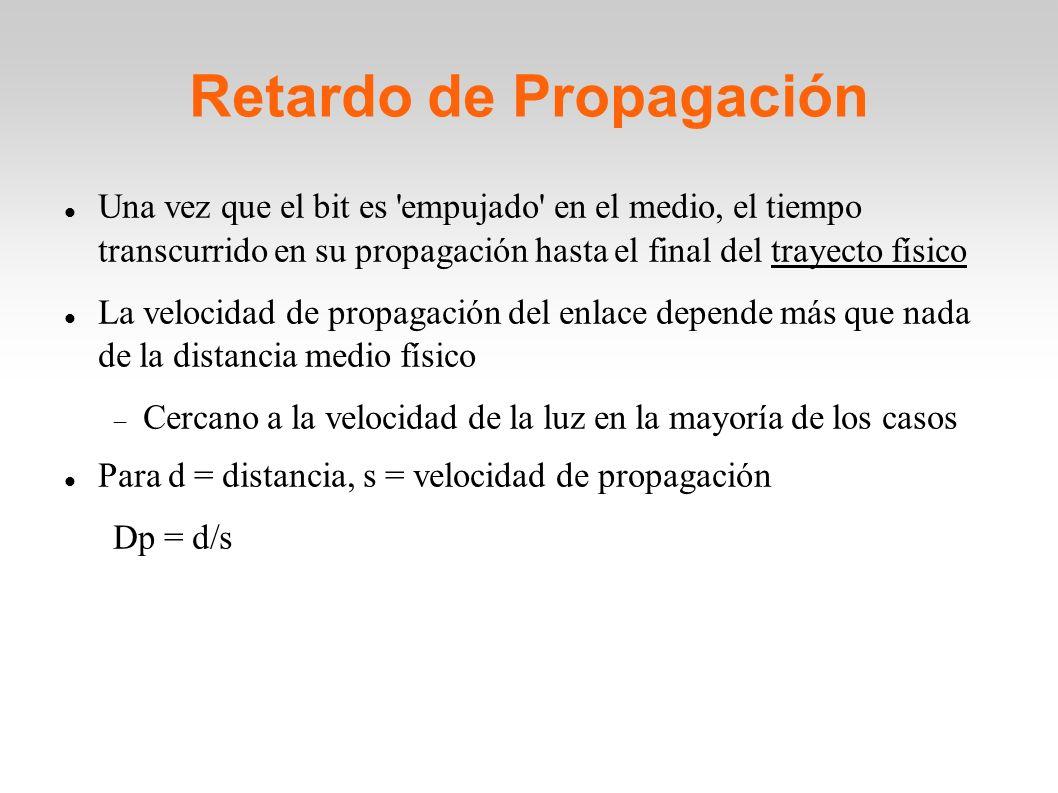 Una vez que el bit es 'empujado' en el medio, el tiempo transcurrido en su propagación hasta el final del trayecto físico La velocidad de propagación