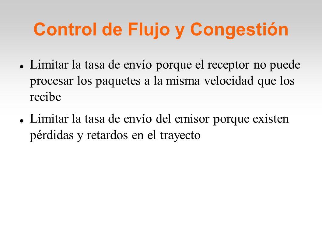 Control de Flujo y Congestión Limitar la tasa de envío porque el receptor no puede procesar los paquetes a la misma velocidad que los recibe Limitar l