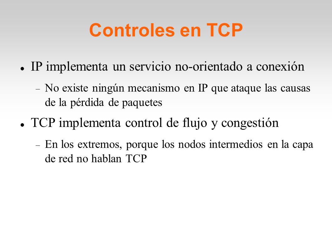 Controles en TCP IP implementa un servicio no-orientado a conexión No existe ningún mecanismo en IP que ataque las causas de la pérdida de paquetes TC