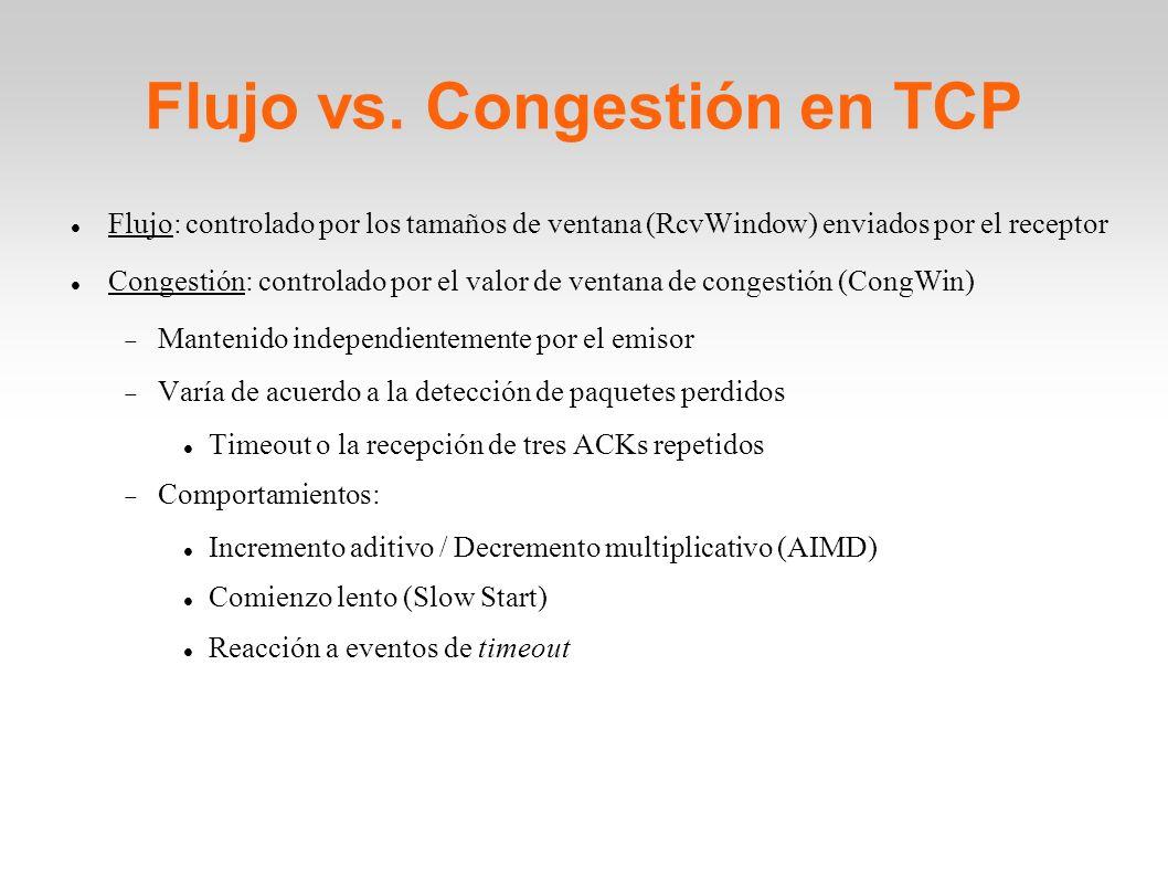 Flujo vs. Congestión en TCP Flujo: controlado por los tamaños de ventana (RcvWindow) enviados por el receptor Congestión: controlado por el valor de v