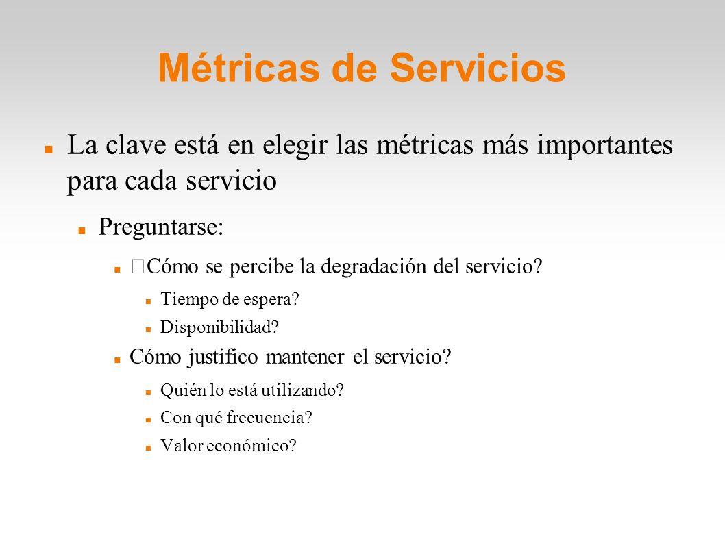 Métricas de Servicios La clave está en elegir las métricas más importantes para cada servicio Preguntarse: Cómo se percibe la degradación del servicio