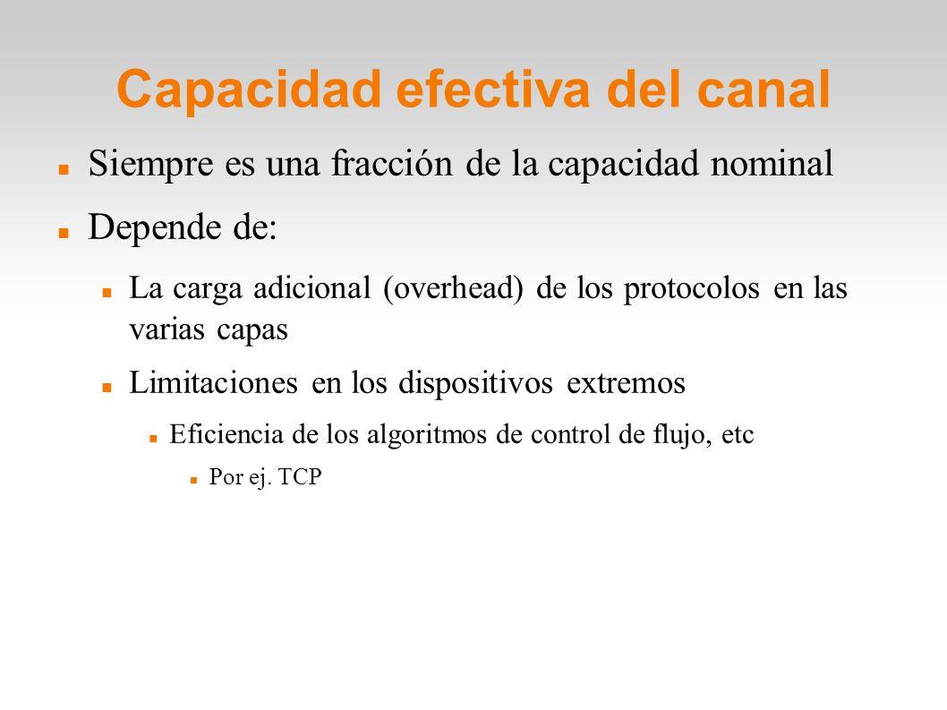 Capacidad efectiva del canal Siempre es una fracción de la capacidad nominal Depende de: La carga adicional (overhead) de los protocolos en las varias