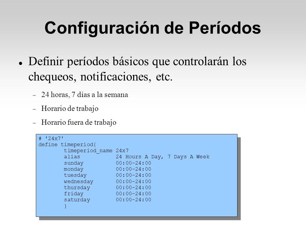 Configuración de Períodos Definir períodos básicos que controlarán los chequeos, notificaciones, etc.