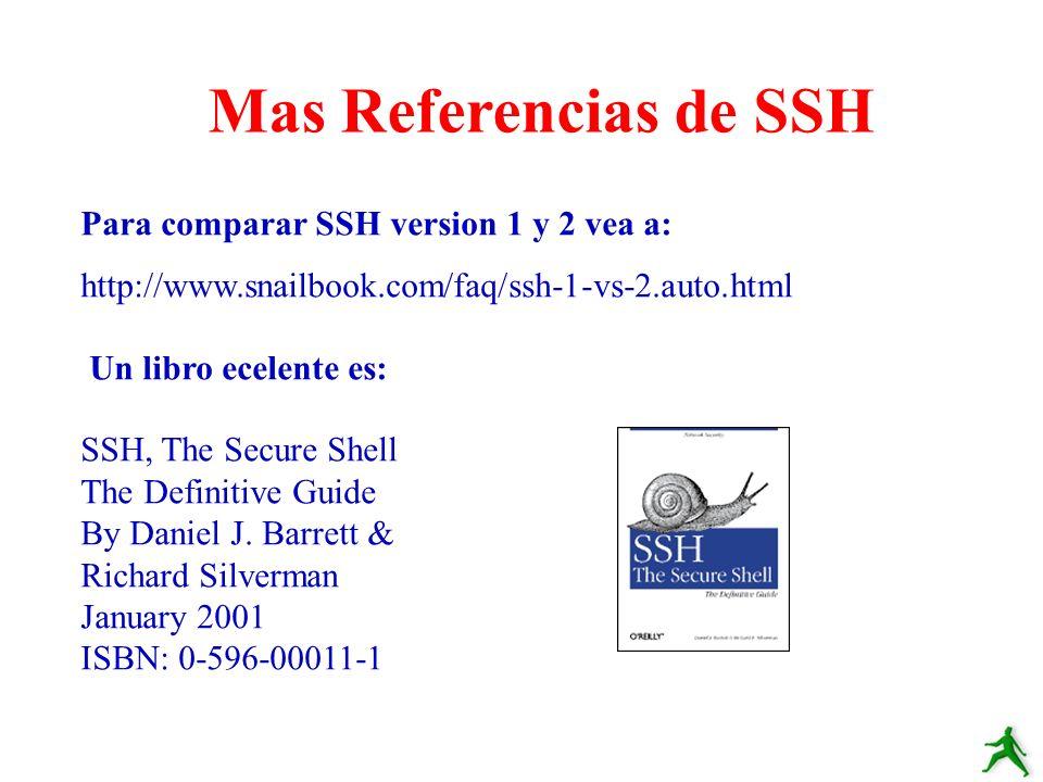 Para comparar SSH version 1 y 2 vea a: http://www.snailbook.com/faq/ssh-1-vs-2.auto.html Un libro ecelente es: SSH, The Secure Shell The Definitive Gu