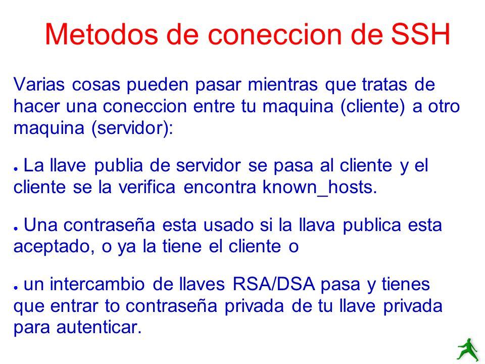 Metodos de coneccion de SSH Varias cosas pueden pasar mientras que tratas de hacer una coneccion entre tu maquina (cliente) a otro maquina (servidor):