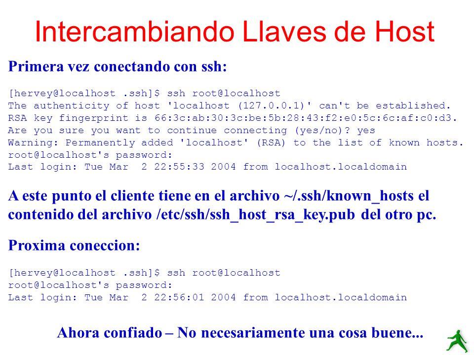 Intercambiando Llaves de Host Primera vez conectando con ssh: [hervey@localhost.ssh]$ ssh root@localhost The authenticity of host 'localhost (127.0.0.