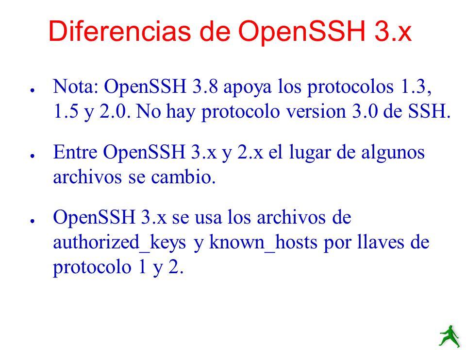 Nota: OpenSSH 3.8 apoya los protocolos 1.3, 1.5 y 2.0. No hay protocolo version 3.0 de SSH. Entre OpenSSH 3.x y 2.x el lugar de algunos archivos se ca