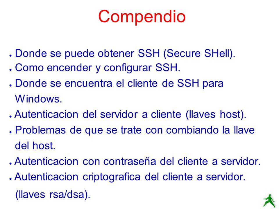 Compendio Donde se puede obtener SSH (Secure SHell). Como encender y configurar SSH. Donde se encuentra el cliente de SSH para Windows. Autenticacion