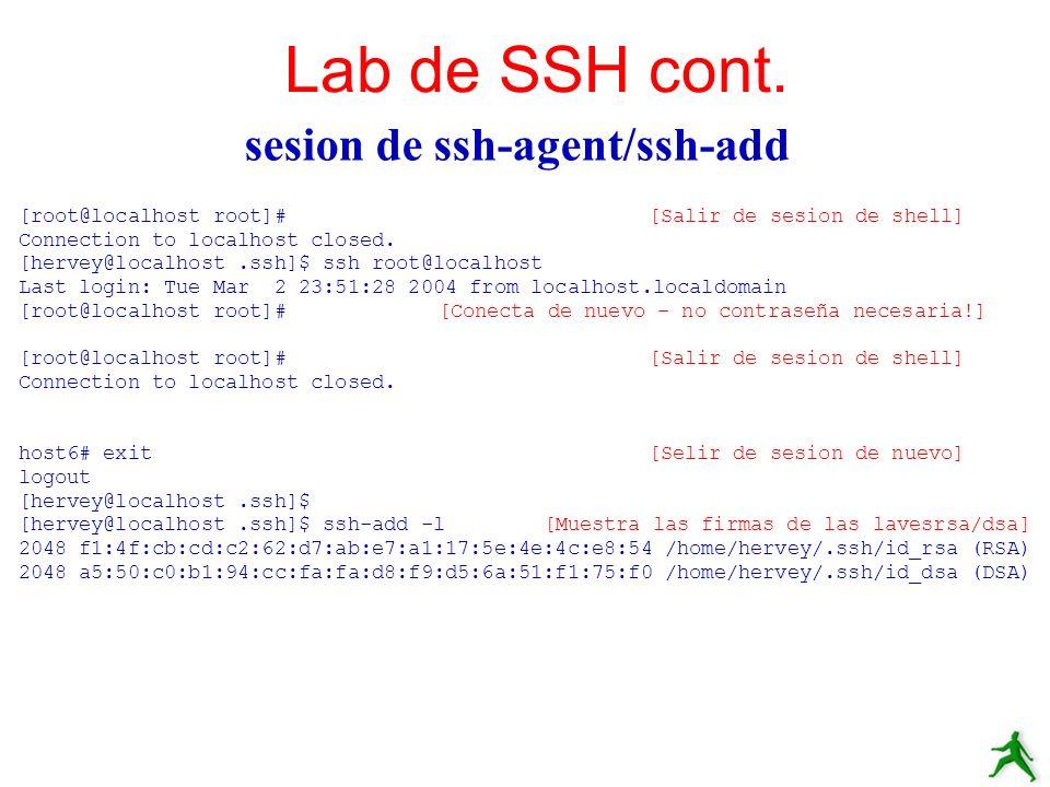 sesion de ssh-agent/ssh-add Lab de SSH cont. [root@localhost root]#[Salir de sesion de shell] Connection to localhost closed. [hervey@localhost.ssh]$