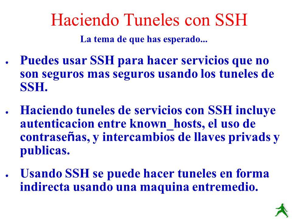 La tema de que has esperado... Puedes usar SSH para hacer servicios que no son seguros mas seguros usando los tuneles de SSH. Haciendo tuneles de serv