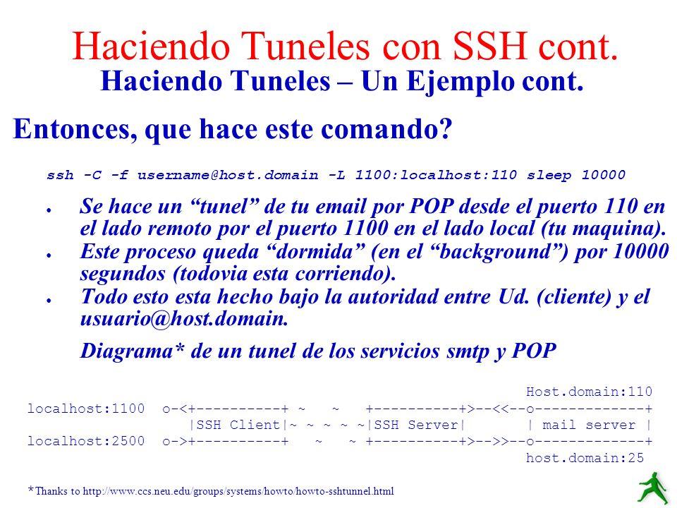 Haciendo Tuneles – Un Ejemplo cont. Entonces, que hace este comando? ssh -C -f username@host.domain -L 1100:localhost:110 sleep 10000 Se hace un tunel
