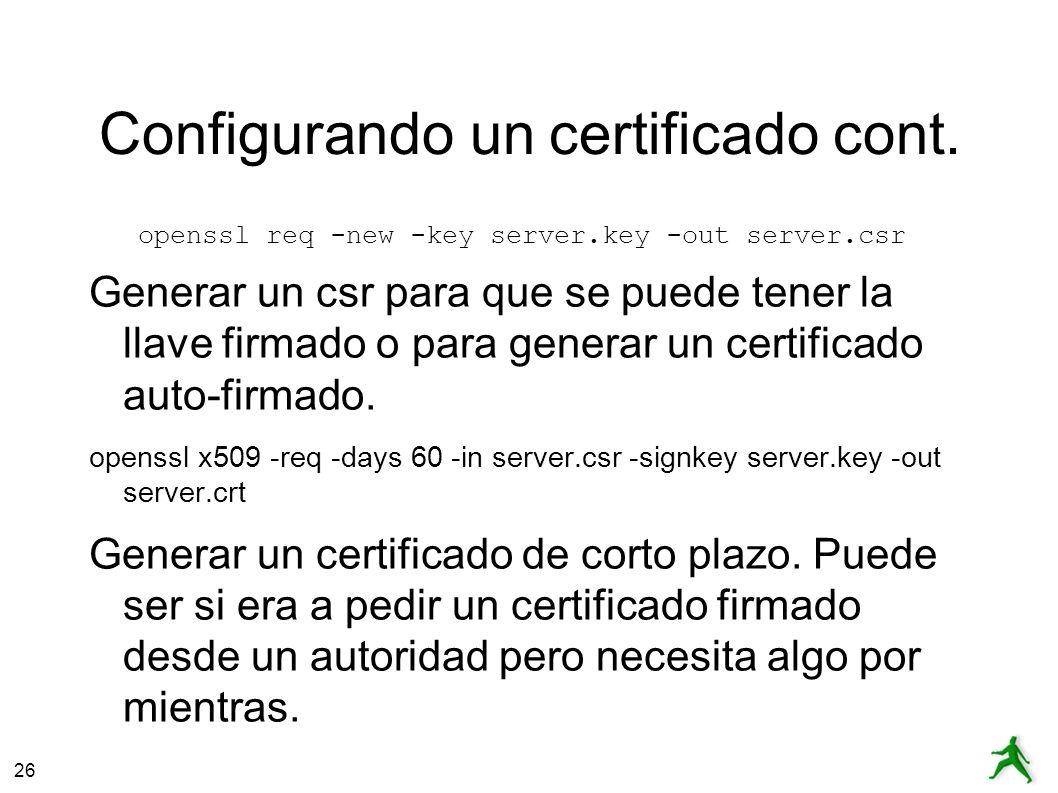26 Configurando un certificado cont.