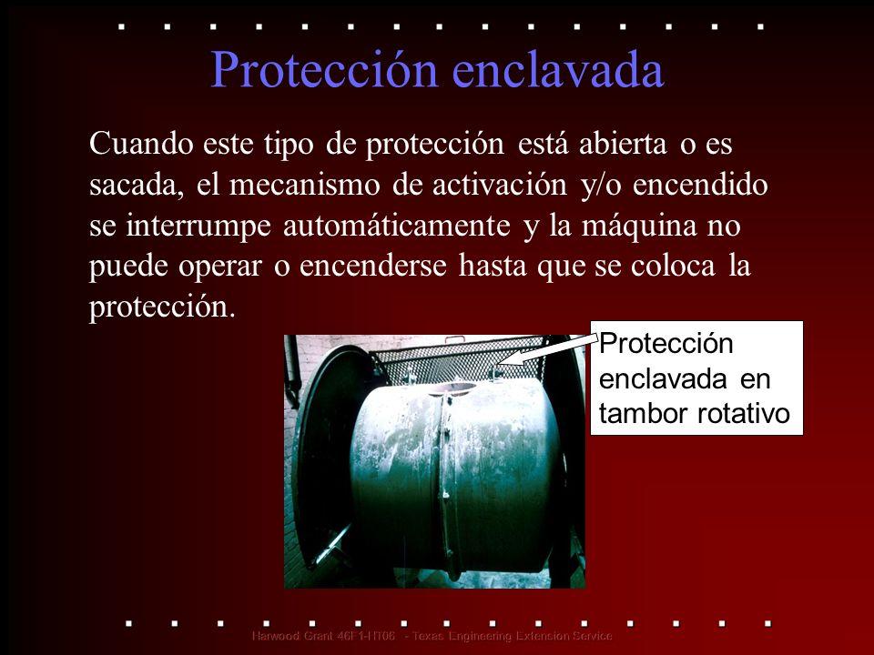 Protección enclavada Cuando este tipo de protección está abierta o es sacada, el mecanismo de activación y/o encendido se interrumpe automáticamente y