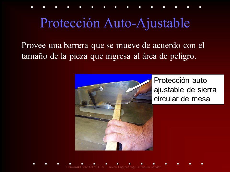 Protección Auto-Ajustable Provee una barrera que se mueve de acuerdo con el tamaño de la pieza que ingresa al área de peligro. Protección auto ajustab