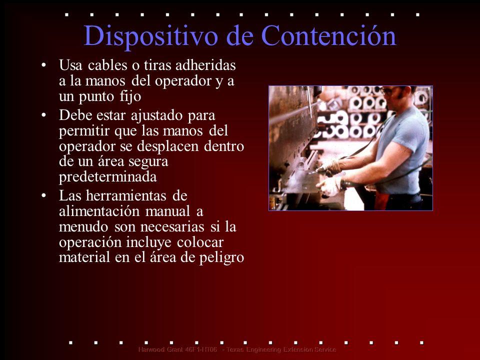 Dispositivo de Contención Usa cables o tiras adheridas a la manos del operador y a un punto fijo Debe estar ajustado para permitir que las manos del o