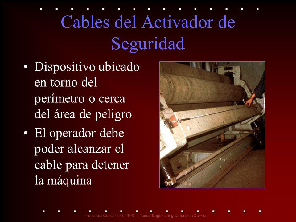 Cables del Activador de Seguridad Dispositivo ubicado en torno del perímetro o cerca del área de peligro El operador debe poder alcanzar el cable para