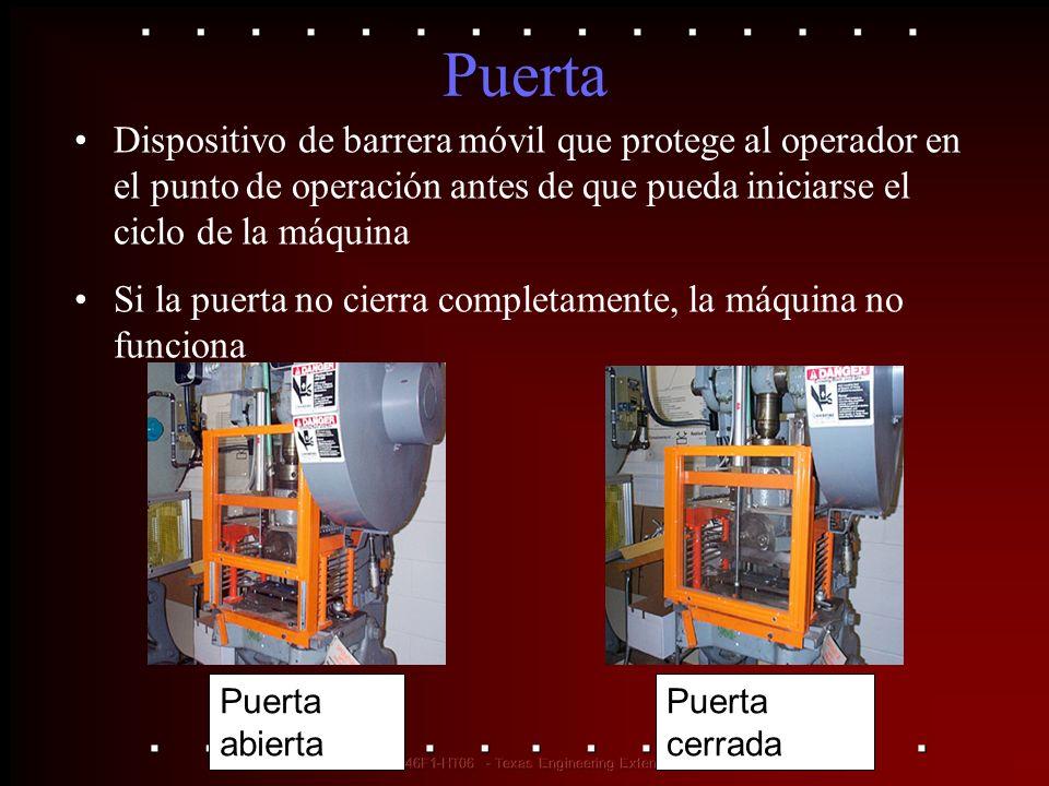 Puerta Dispositivo de barrera móvil que protege al operador en el punto de operación antes de que pueda iniciarse el ciclo de la máquina Si la puerta
