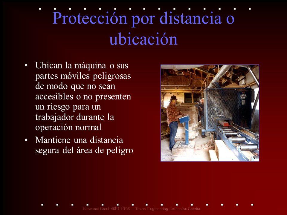 Protección por distancia o ubicación Ubican la máquina o sus partes móviles peligrosas de modo que no sean accesibles o no presenten un riesgo para un