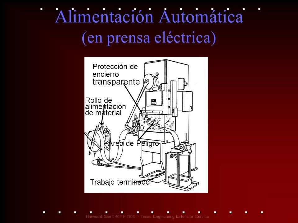 Alimentación Automática (en prensa eléctrica) Protección de encierro transparente Rollo de alimentación de material Área de Peligro Trabajo terminado