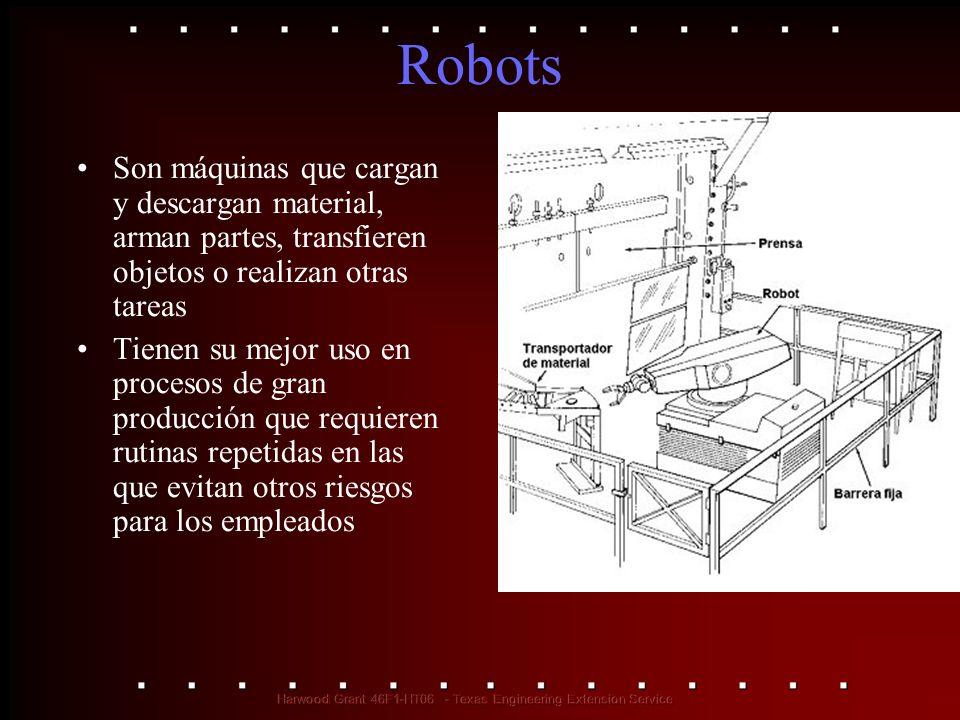 Robots Son máquinas que cargan y descargan material, arman partes, transfieren objetos o realizan otras tareas Tienen su mejor uso en procesos de gran