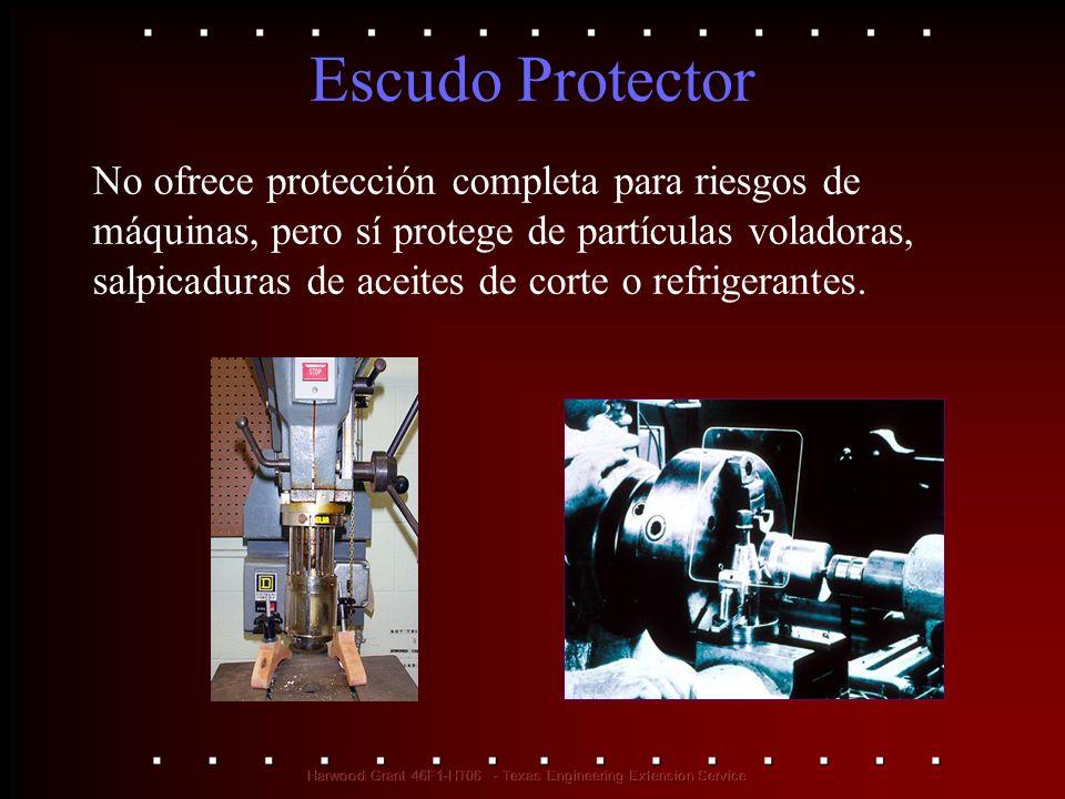 Escudo Protector No ofrece protección completa para riesgos de máquinas, pero sí protege de partículas voladoras, salpicaduras de aceites de corte o r