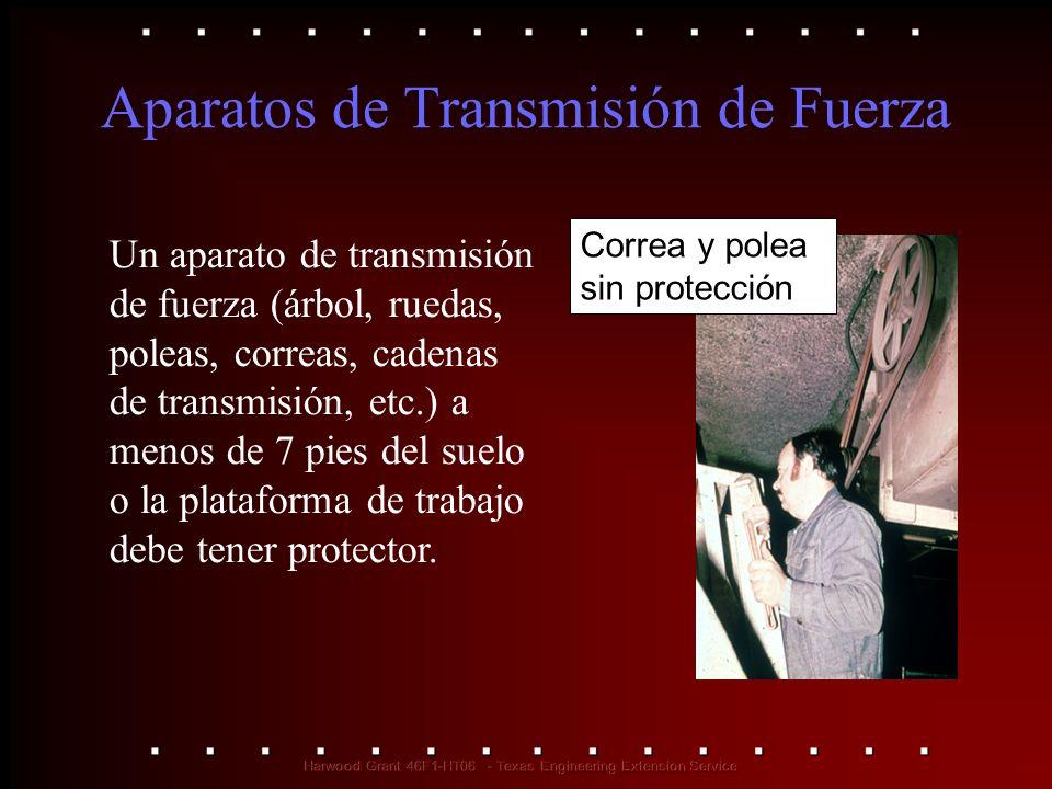 Aparatos de Transmisión de Fuerza Un aparato de transmisión de fuerza (árbol, ruedas, poleas, correas, cadenas de transmisión, etc.) a menos de 7 pies