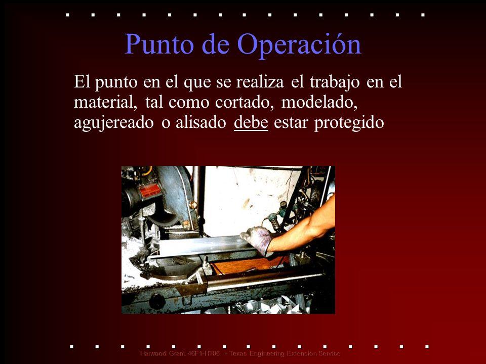 Punto de Operación El punto en el que se realiza el trabajo en el material, tal como cortado, modelado, agujereado o alisado debe estar protegido