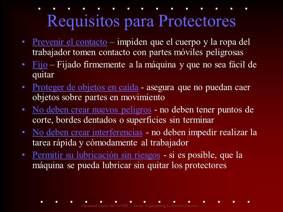 Métodos de Protección en el Uso de Máquinas Protectores –fijos –interconectados –ajustables –autoajustables Dispositivos –detectan presencias –sacamanos –de contención –controles de seguridad (cable activador, control de dos manos, etc.) –puertas Ubicación y distancia Métodos de alimentación y eyección –alimentación y eyección automática y semi/automática –robots Ayuda con misceláneas –barreras que llaman la atención –escudos protectores –herramientas para alimentación manual