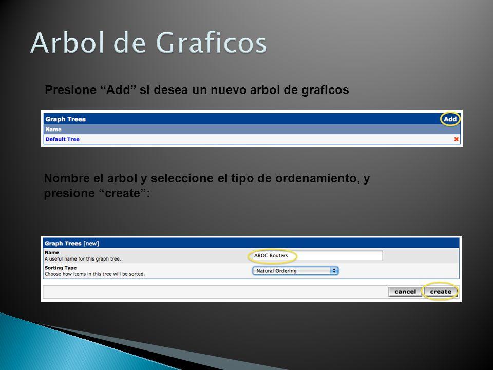 Presione Add si desea un nuevo arbol de graficos Nombre el arbol y seleccione el tipo de ordenamiento, y presione create: