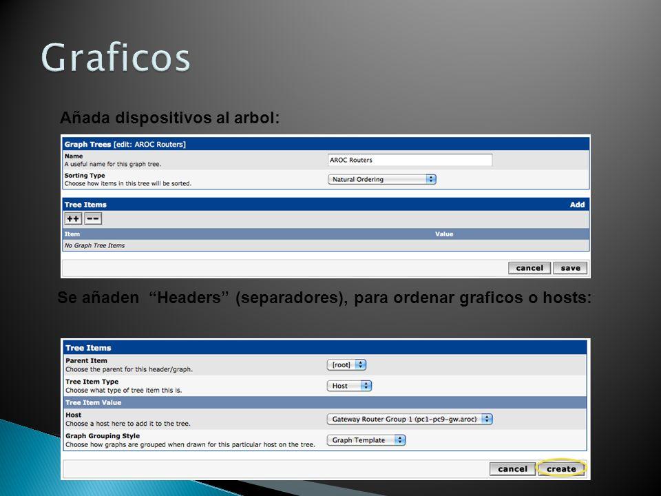 Añada dispositivos al arbol: Se añaden Headers (separadores), para ordenar graficos o hosts: