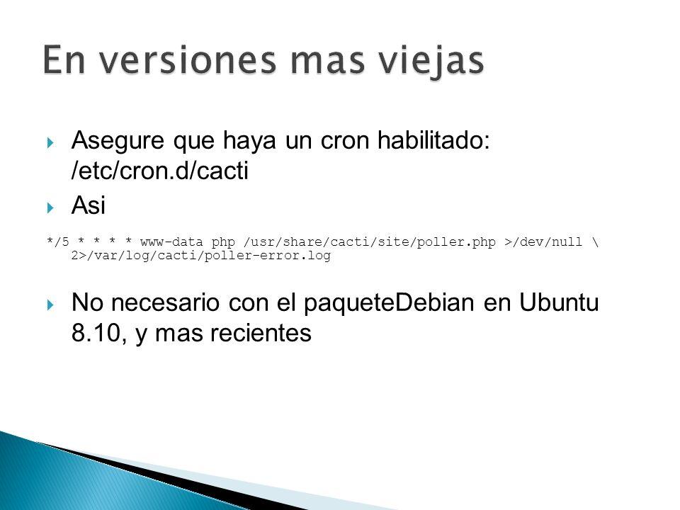 # tar xvzf cacti-cactid-0.8.6.tar.gz # cd cactid-0.8.6 #./configure # make # make install # vi /usr/local/cactid/bin/cactid.conf DB_Host localhost DB_Database cacti DB_User cactiuser DB_Pass cacti_pass DB_Port 3306 En la Web interface: Configuration -> Settings -> Paths -> Cactid Poller File Path y especifique la localizacion de cactid.