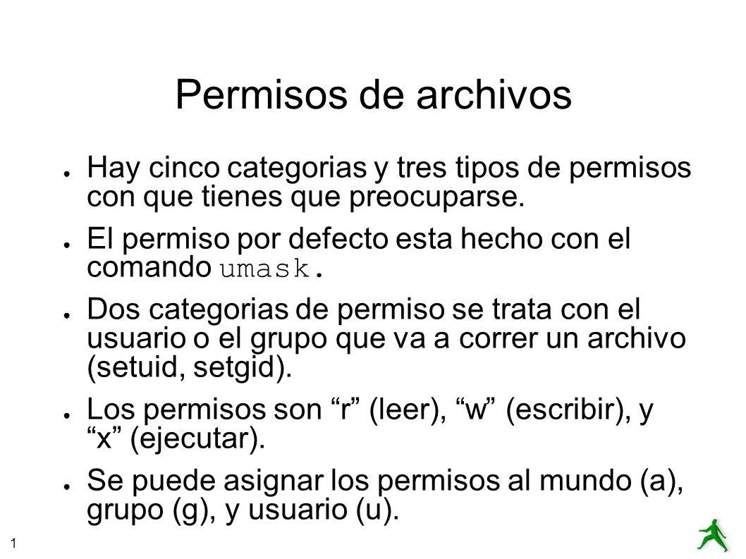 1 Permisos de archivos Hay cinco categorias y tres tipos de permisos con que tienes que preocuparse.