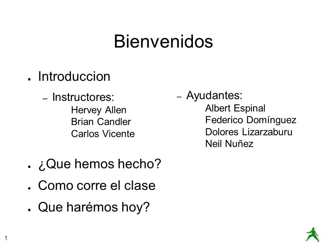 1 Bienvenidos Introduccion – Instructores: Hervey Allen Brian Candler Carlos Vicente ¿Que hemos hecho.
