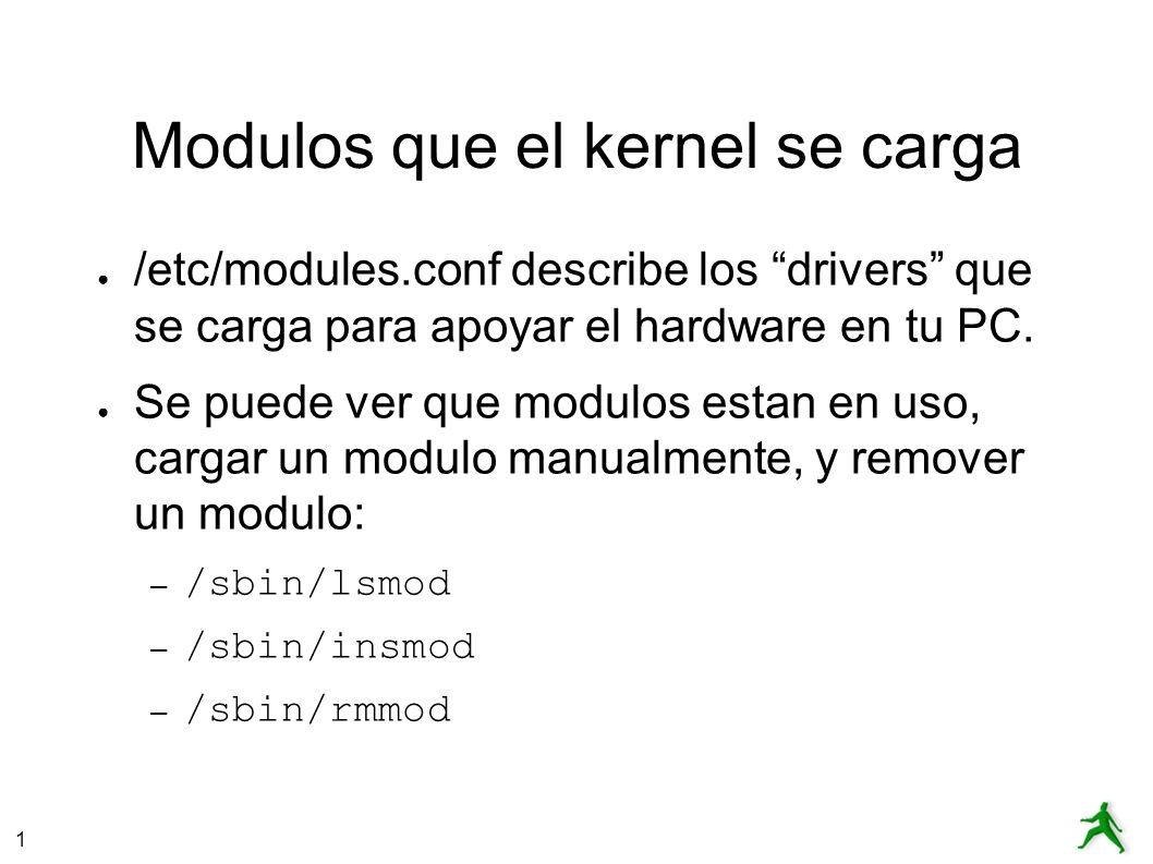 1 Modulos que el kernel se carga /etc/modules.conf describe los drivers que se carga para apoyar el hardware en tu PC.