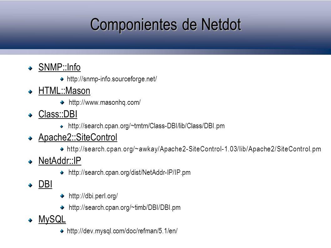Componientes de Netdot SNMP::Info http://snmp-info.sourceforge.net/ HTML::Mason http://www.masonhq.com/ Class::DBI http://search.cpan.org/~tmtm/Class-DBI/lib/Class/DBI.pm Apache2::SiteControl http://search.cpan.org/~awkay/Apache2-SiteControl-1.03/lib/Apache2/SiteControl.pm NetAddr::IP http://search.cpan.org/dist/NetAddr-IP/IP.pm DBI http://dbi.perl.org/ http://search.cpan.org/~timb/DBI/DBI.pm MySQL http://dev.mysql.com/doc/refman/5.1/en/