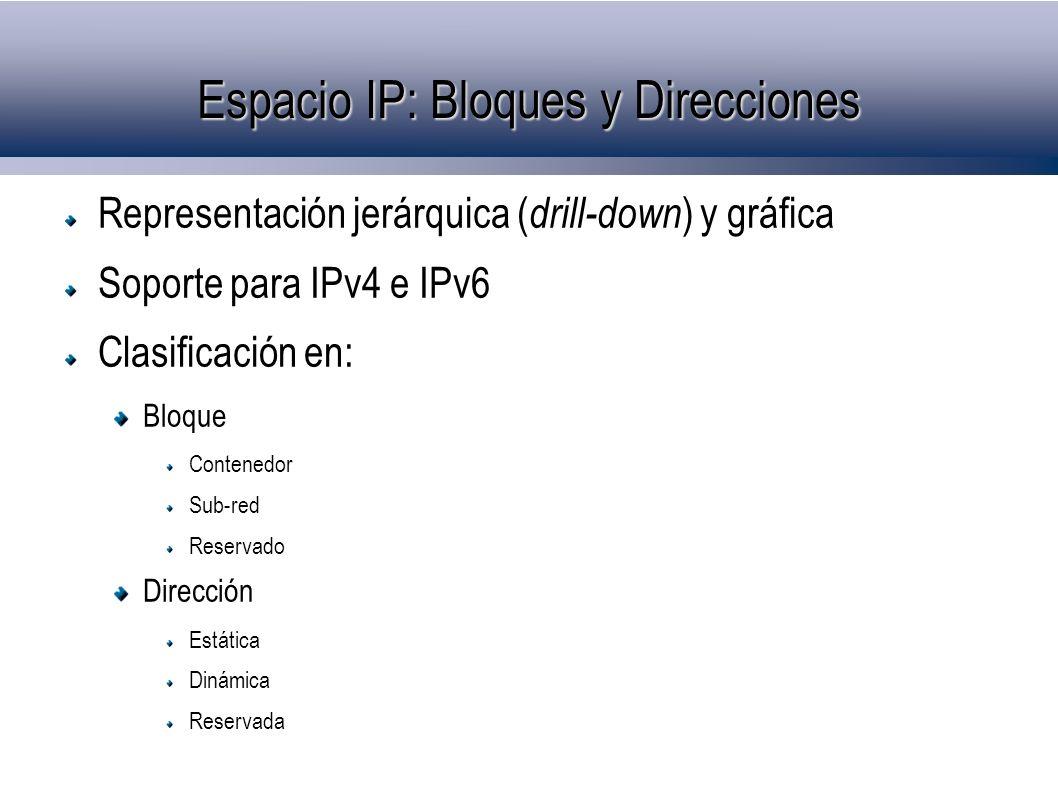 Espacio IP: Bloques y Direcciones Representación jerárquica ( drill-down ) y gráfica Soporte para IPv4 e IPv6 Clasificación en: Bloque Contenedor Sub-red Reservado Dirección Estática Dinámica Reservada