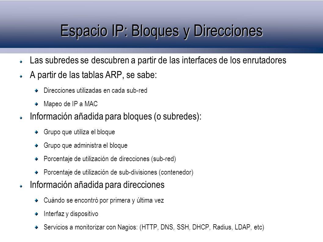 Espacio IP: Bloques y Direcciones Las subredes se descubren a partir de las interfaces de los enrutadores A partir de las tablas ARP, se sabe: Direcciones utilizadas en cada sub-red Mapeo de IP a MAC Información añadida para bloques (o subredes): Grupo que utiliza el bloque Grupo que administra el bloque Porcentaje de utilización de direcciones (sub-red) Porcentaje de utilización de sub-divisiones (contenedor) Información añadida para direcciones Cuándo se encontró por primera y última vez Interfaz y dispositivo Servicios a monitorizar con Nagios: (HTTP, DNS, SSH, DHCP, Radius, LDAP, etc)