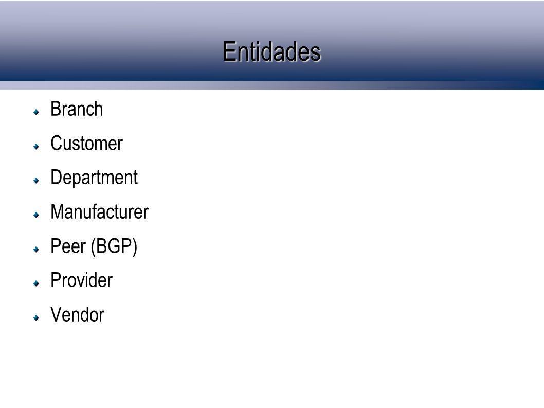Entidades Branch Customer Department Manufacturer Peer (BGP) Provider Vendor