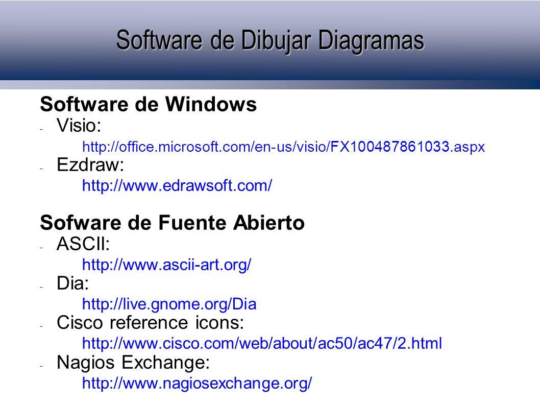 Software de Windows - Visio: http://office.microsoft.com/en-us/visio/FX100487861033.aspx - Ezdraw: http://www.edrawsoft.com/ Sofware de Fuente Abierto - ASCII: http://www.ascii-art.org/ - Dia: http://live.gnome.org/Dia - Cisco reference icons: http://www.cisco.com/web/about/ac50/ac47/2.html - Nagios Exchange: http://www.nagiosexchange.org/ Software de Dibujar Diagramas