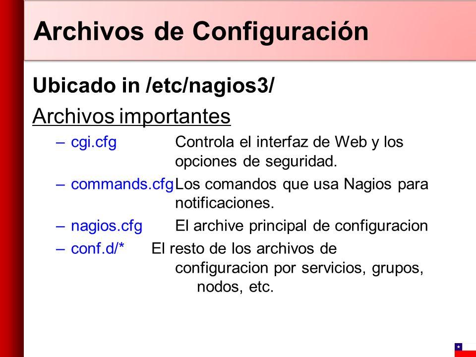 Ubicado in /etc/nagios3/ Archivos importantes –cgi.cfgControla el interfaz de Web y los opciones de seguridad. –commands.cfgLos comandos que usa Nagio