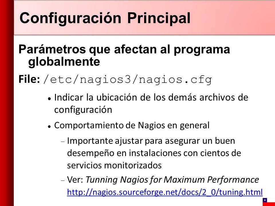 Configuración Principal Parámetros que afectan al programa globalmente File: /etc/nagios3/nagios.cfg Indicar la ubicación de los demás archivos de con