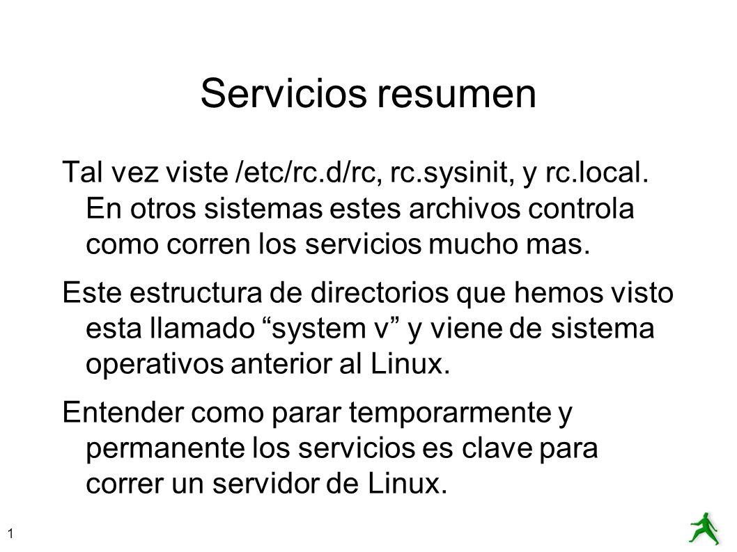 1 Servicios resumen Tal vez viste /etc/rc.d/rc, rc.sysinit, y rc.local. En otros sistemas estes archivos controla como corren los servicios mucho mas.