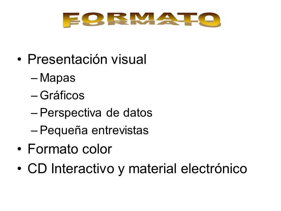 Presentación visual –Mapas –Gráficos –Perspectiva de datos –Pequeña entrevistas Formato color CD Interactivo y material electrónico
