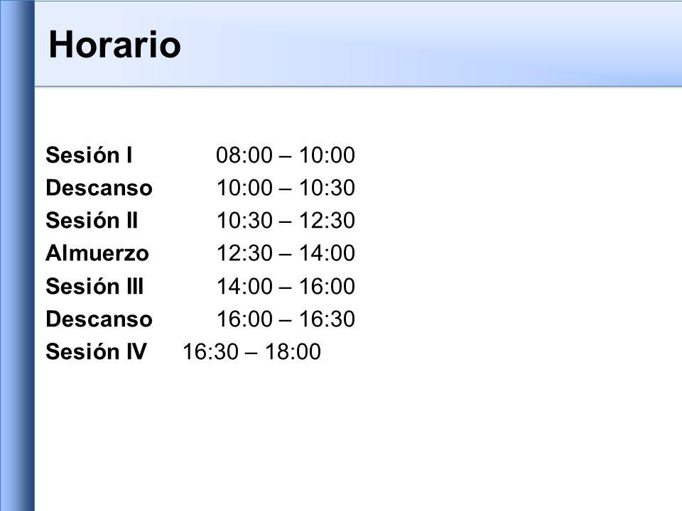 Horario Sesión I 08:00 – 10:00 Descanso 10:00 – 10:30 Sesión II 10:30 – 12:30 Almuerzo12:30 – 14:00 Sesión III 14:00 – 16:00 Descanso16:00 – 16:30 Sesión IV 16:30 – 18:00