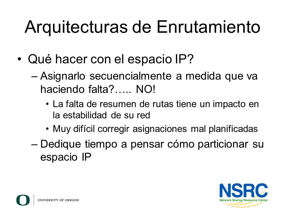 Qué hacer con el espacio IP? –Asignarlo secuencialmente a medida que va haciendo falta?….. NO! La falta de resumen de rutas tiene un impacto en la est