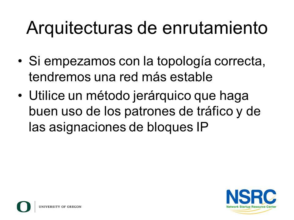 Arquitecturas de enrutamiento Si empezamos con la topología correcta, tendremos una red más estable Utilice un método jerárquico que haga buen uso de