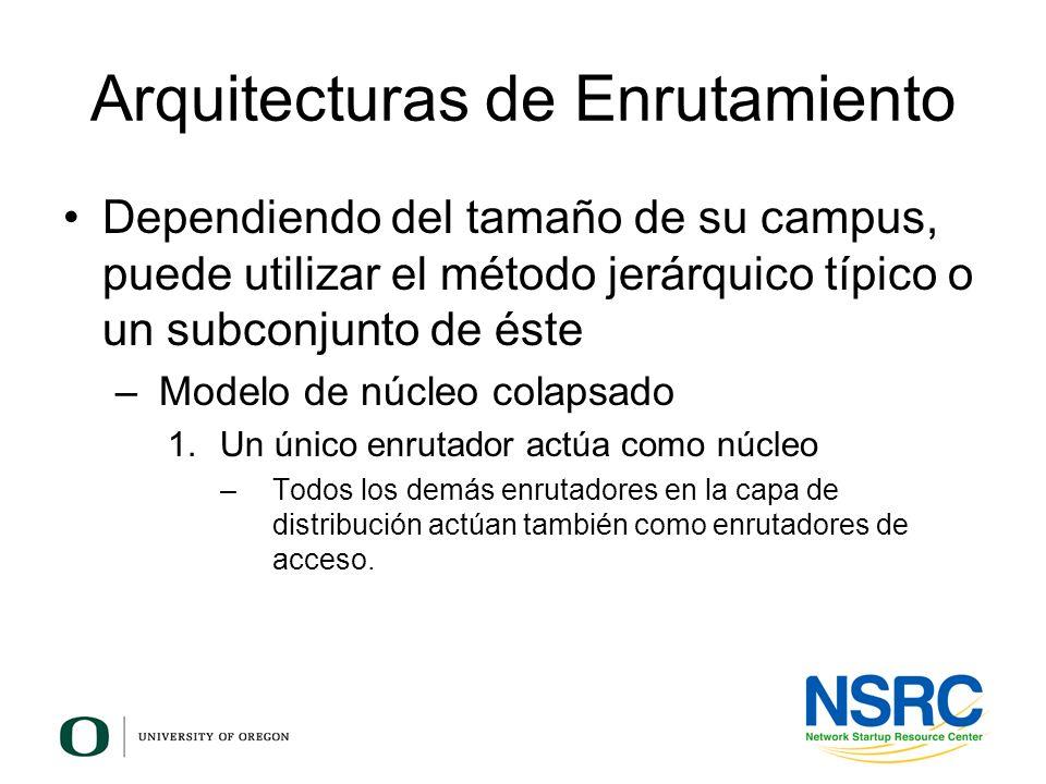 Arquitecturas de Enrutamiento Dependiendo del tamaño de su campus, puede utilizar el método jerárquico típico o un subconjunto de éste – Modelo de núc