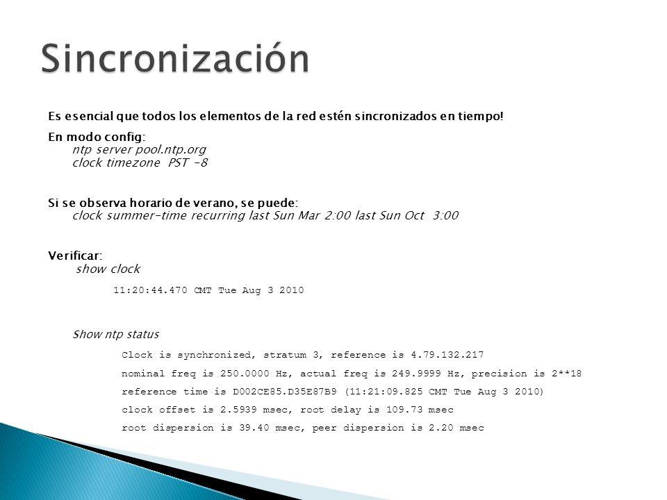 Se recomienda utilizar SNMP version 3: Iguales facilidades que la version 2 pero con protección de acceso y encriptamiento Configurar SNMP v3: snmp-server view included snmp-server group v3 auth read snmp-server user v3 auth [ priv des56 ] Ejemplo: Configurar un usuario con acceso total al árbol de SNMP, de solo lectura.
