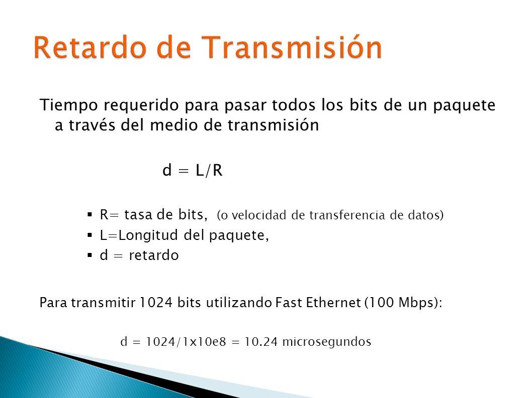 Tiempo requerido para pasar todos los bits de un paquete a través del medio de transmisión d = L/R R= tasa de bits, (o velocidad de transferencia de datos) L=Longitud del paquete, d = retardo Para transmitir 1024 bits utilizando Fast Ethernet (100 Mbps): d = 1024/1x10e8 = 10.24 microsegundos