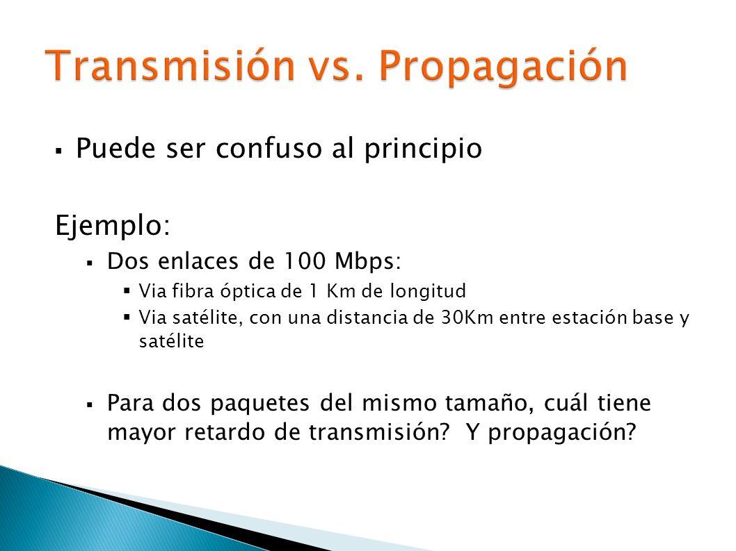 Puede ser confuso al principio Ejemplo: Dos enlaces de 100 Mbps: Via fibra óptica de 1 Km de longitud Via satélite, con una distancia de 30Km entre estación base y satélite Para dos paquetes del mismo tamaño, cuál tiene mayor retardo de transmisión.